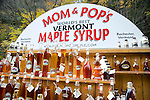 Bottles of maple syrup for sale at a roadside stand at Moss Glen Falls in Granville, Vermont, New England, United States of America, North America