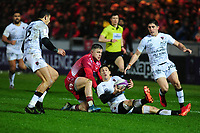 Baptiste Serin of Toulon under pressure from Steff Evans of Scarlets during the European Rugby Challenge Cup Round 5 match between the Scarlets and RC Toulon at the Parc Y Scarlets in Llanelli, Wales, UK. Saturday January 11 2020