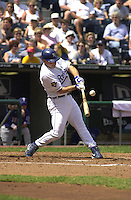 Royals DH Joe Randa singles to center field in the second inning against the Rangers at Kauffman Stadium in Kansas City, Missouri on September 2, 2001.  Texas won 12-6.