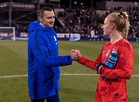 COLUMBUS, OH - NOVEMBER 07: Vlatko Andonovski of the United States congratulates Becky Sauerbrunn #4 during a game between Sweden and USWNT at Mapfre Stadium on November 07, 2019 in Columbus, Ohio.