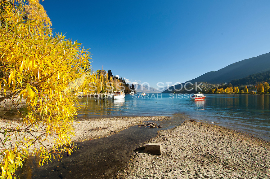 Looking down Lake Wakatipu from the Queenstown Gardens in Autumn, Central Otago, South Island, New Zealand