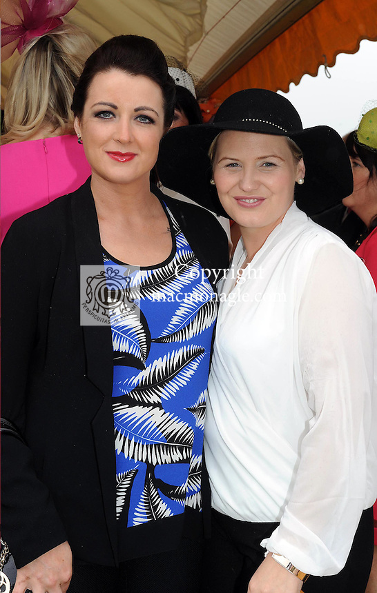 Pictured enjoying the summer fayre on the Ross Hotel / Lane Bar Champagne &amp; Cocktail Marquee at Killarney Races ladies Day on Thursday were from left, Samantha Leen and Erica Kelliher, Killarney.<br /> Picture by Don MacMonagle<br /> <br /> <br /> PR Photo from Ross Hotel