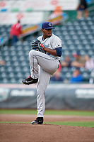 Corpus Christi Hooks starting pitcher Rogelio Armenteros (19) delivers a pitch during a game against the Springfield Cardinals on May 31, 2017 at Hammons Field in Springfield, Missouri.  Springfield defeated Corpus Christi 5-4.  (Mike Janes/Four Seam Images)