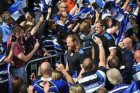 Ross Batty and the rest of the Bath Rugby team walk through the Tunnel of Noise that supporters have formed prior to the match. Aviva Premiership semi-final, between Bath Rugby and Leicester Tigers on May 23, 2015 at the Recreation Ground in Bath, England. Photo by: Patrick Khachfe / Onside Images