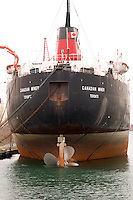 Stern of Great Lakes Freighter docked in Toronto Ontario Canada