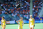 The Hague, Netherlands, June 12: Players of Australia line up for a penalty corner with the spyder cam on top during the field hockey semi-final match (Women) between USA and Australia on June 12, 2014 during the World Cup 2014 at Kyocera Stadium in The Hague, Netherlands. Final score after full time 2-2 (0-1). Score after shoot-out 1-3. (Photo by Dirk Markgraf / www.265-images.com) *** Local caption *** Anna Flanagan #9 of Australia, Madonna Blyth #12 of Australia, Jodie Kenny #7 of Australia