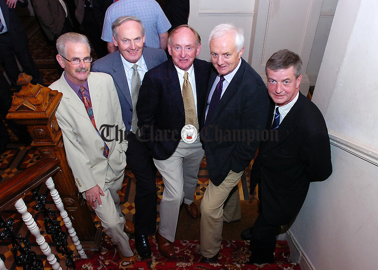 L-R Frank Casey,Tom Maxwell, Eamonn O'Kennedy,PJ Garry and Seamus Hough organisers of the Flannans Class of 66 reunion.Pic Arthur Ellis.