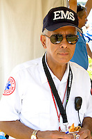 EMS Emergency Medical Service technician on duty. Aquatennial Beach Bash Minneapolis Minnesota USA