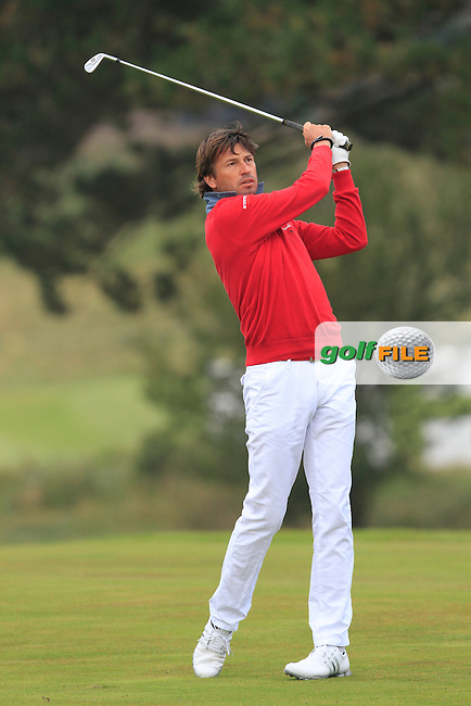 Robert-Jan Derksen (NED) on the 1st during Round 4 of the KLM Open at Kennemer Golf &amp; Country Club on Sunday 14th September 2014.<br /> Picture:  Thos Caffrey / www.golffile.ie