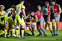 Jack Clifford of Harlequins takes on the Sale Sharks defence with support from team-mate Will Collier. Aviva Premiership match, between Harlequins and Sale Sharks on October 6, 2017 at the Twickenham Stoop in London, England. Photo by: Patrick Khachfe / JMP