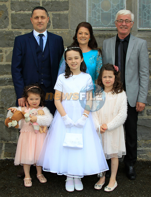 Gary, Sinead and Gerard Callaghan with Sarah, Niamh and Caoimhe during Communion in Church of Mary Immaculate, Collon on Saturday 9th May 2015.<br /> Picture:  Thos Caffrey / www.newsfile.ie