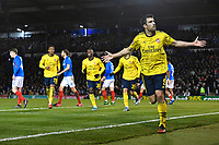 Sokratis Papastathopoulos of Arsenal celebrates scoring the first goal during Portsmouth vs Arsenal, Emirates FA Cup Football at Fratton Park on 2nd March 2020