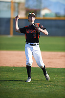 Aidan Kelly (9) of Los Gatos High School in Los Gatos, California during the Baseball Factory All-America Pre-Season Tournament, powered by Under Armour, on January 14, 2018 at Sloan Park Complex in Mesa, Arizona.  (Zachary Lucy/Four Seam Images)