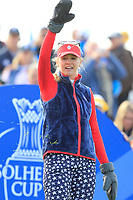 Jessica Korda of Team USA on the 10th tee during Day 1 Fourball at the Solheim Cup 2019, Gleneagles Golf CLub, Auchterarder, Perthshire, Scotland. 13/09/2019.<br /> Picture Thos Caffrey / Golffile.ie<br /> <br /> All photo usage must carry mandatory copyright credit (© Golffile | Thos Caffrey)