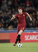 Football Soccer: UEFA Champions League AS Roma vs Chelsea Stadio Olimpico Rome, Italy, October 31, 2017. <br /> Roma's Edin Dzeko during the Uefa Champions League football soccer match between AS Roma and Chelsea at Rome's Olympic stadium, October 31, 2017.<br /> UPDATE IMAGES PRESS/Isabella Bonotto
