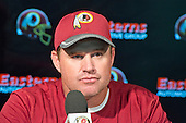Washington Redskins head coach Jay Gruden meets the media following an organized team activity (OTA) at Redskins Park in Ashburn, Virginia on Wednesday, June 1, 2016.<br /> Credit: Ron Sachs / CNP