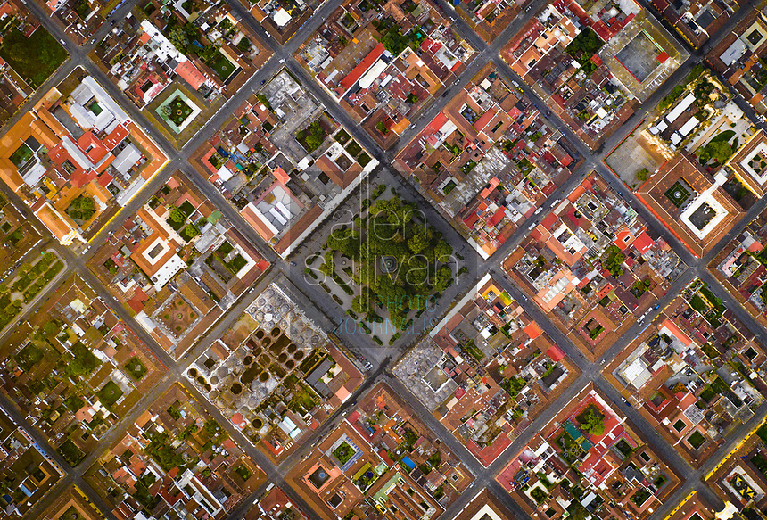 Aerial straight down view of central Antigua Guatemala on Thursday, Oct. 26, 2018.