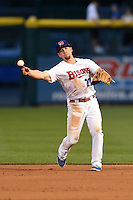 Buffalo Bisons second baseman Ryan Schimpf (27) throws to first during a game against the Pawtucket Red Sox on August 26, 2014 at Coca-Cola Field in Buffalo, New  York.  Pawtucket defeated Buffalo 9-3.  (Mike Janes/Four Seam Images)