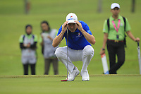 Ross Fisher (Europe) on the 1st green during the Friday Foursomes of the Eurasia Cup at Glenmarie Golf and Country Club on the 12th January 2018.<br /> Picture:  Thos Caffrey / www.golffile.ie