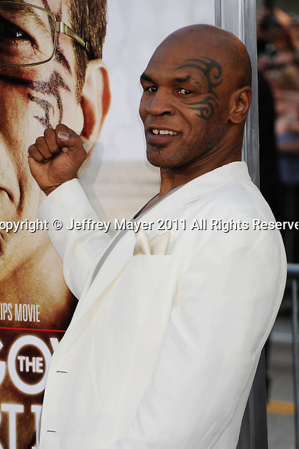 "HOLLYWOOD, CA - MAY 19: Mike Tyson  arrives at the Los Angeles premiere of ""The Hangover Part II"" at Grauman's Chinese Theatre on May 19, 2011 in Hollywood, California."