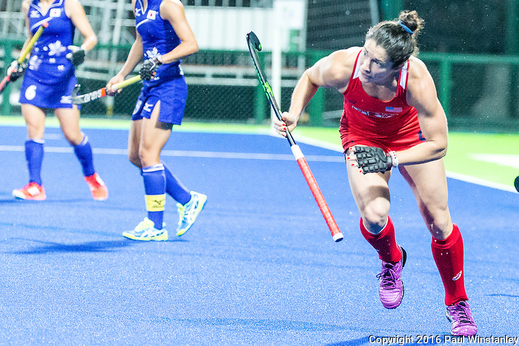 Michelle Vittese #9 of United States accelerates to get into position during USA vs Japan in a Pool B game at the Rio 2016 Olympics at the Olympic Hockey Centre in Rio de Janeiro, Brazil.