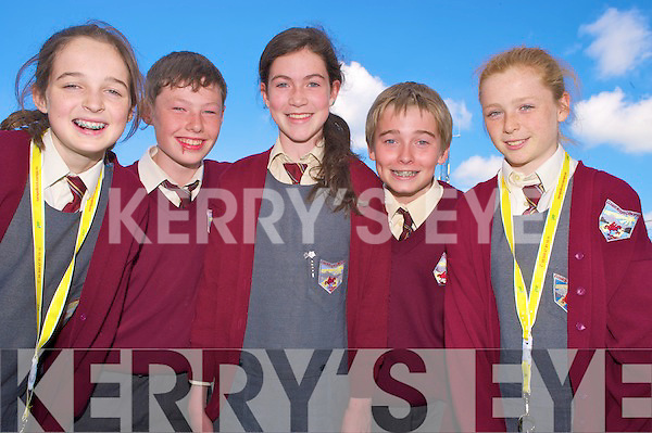 Georgina O'Shea, Cathal Talbot, Orla Cronin, Daniel O'Carroll and Melissa Buckley, Fossa National School, enjoying the Killarney National Schools quiz on the European Union held in the Killarney Library on Tuesday.