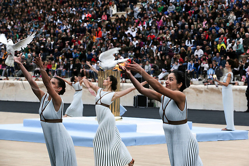 October 31st 2017, ATHENS, Greece;-  Greek actresses playing the role of ancient Greek priestesses and dancers perform during the handover ceremony of the Olympic Flame at Panathenaic stadium in Athens on Oct. 31, 2017, The Flame burning for the 2018 PyeongChang Winter Olympics was handed over on Oct. 31st to the South Korean organizers