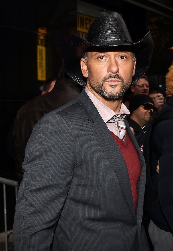 Singer Tim McGraw is seen leaving GMA on Wednesday, Feb. 8, 2011. (AP Photo/ Donald Traill)