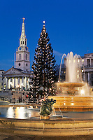 United Kingdom, London: Trafalgar Square at dusk at Christmas