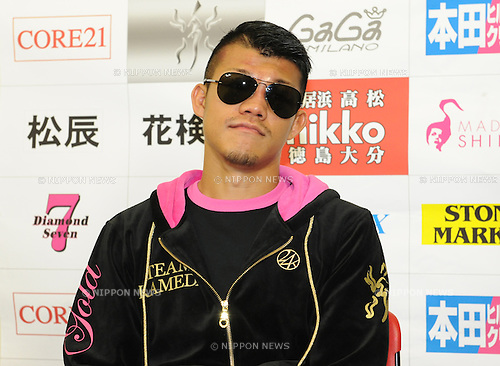 Koki Kameda (JPN),.APRIL 7, 2013 - Boxing :.Koki Kameda of Japan is interviewed by the press after the WBA bantamweight title bout at Bodymaker Colosseum (Osaka Prefectural Gymnasium) in Osaka, Japan. (Photo by Mikio Nakai/AFLO)