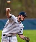 WASHINGTON,  CT-041819JS18-Chance Dutcher (18) delivers a pitch after coming in as a relief pitcher during their 2-1 win over Northwestern Thursday at Tex Alex Field in Washington.  <br /> Jim Shannon Republican American