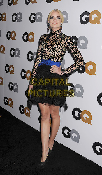 Jaime King.Arriving at the GQ Men Of The Year Party at Chateau Marmont Hotel in Los Angeles, California, USA..November 13th, 2012.full length black lace netting long sleeves top high collar skirt blue sash waist belt hand on hip ruffles.CAP/ROT/TM.©Tony Michaels/Roth Stock/Capital Pictures