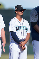 Peoria Javelinas infielder Chris Mariscal (19), of the Seattle Mariners organization, during player introductions before the Arizona Fall League Championship game against the Salt River Rafters at Scottsdale Stadium on November 17, 2018 in Scottsdale, Arizona. Peoria defeated Salt River 3-2 in 10 innings. (Zachary Lucy/Four Seam Images)