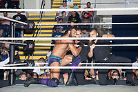 WWE Champion Jinder Mahal (left) confers with his allies, a tag-team duo known as The Singh Brothers, before his match against Randy Orton at a WWE Live Summerslam Heatwave Tour event at the MassMutual Center in Springfield, Massachusetts, USA, on Mon., Aug. 14, 2017. Mahal lost the match.