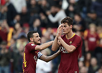 Football, Serie A: AS Roma - Sampdoria, Olympic stadium, Rome, November 11, 2018. <br /> Roma's Patrick Schick (r) celebrates after scoring with his teammate Alessandro Florenzi (l) during the Italian Serie A football match between Roma and Sampdoria at Rome's Olympic stadium, on November 11, 2018.<br /> UPDATE IMAGES PRESS/Isabella Bonotto