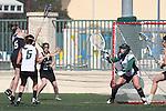 Santa Barbara, CA 02/18/12 - Avery Toothman (Colorado #5), Adrian Holland  (Cal Poly SLO #5), Mikaele Pepin  (Cal Poly SLO #2) and Kelly Harris  (Cal Poly SLO #24) in action during the 2012 Santa Barbara Shootout.  Colorado defeated Cal Poly SLO 8-7.