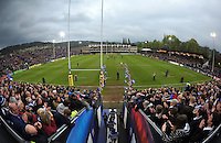The Bath Rugby team enter the field of play. Aviva Premiership match, between Bath Rugby and London Irish on April 24, 2015 at the Recreation Ground in Bath, England. Photo by: Patrick Khachfe / Onside Images