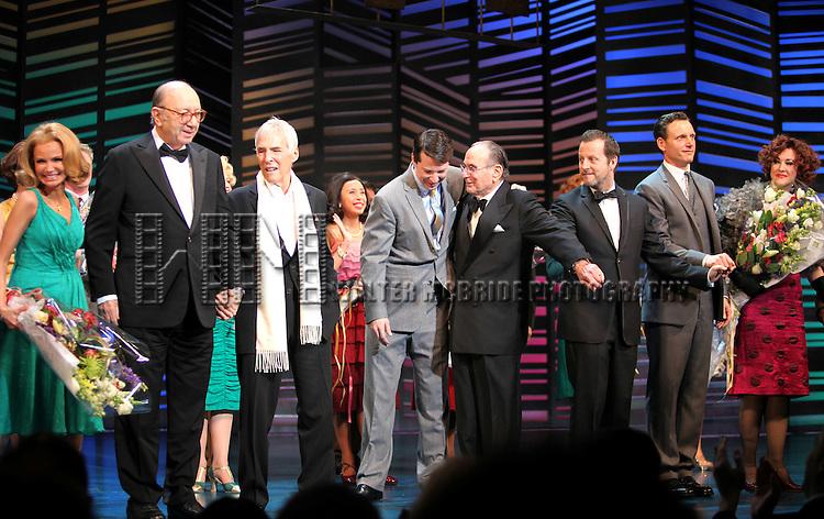 "Dick Latessa, Kristin Chenoweth, Neil Simon, Burt Bacharach, Sean Hayes, Hal David, Rob Ashford, Tony Goldwyn, Fatie Finneran.taking a bow on the  Opening Night Broadway performance Curtain Call for ""PROMISES, PROMISES"" at the Broadway Theatre, New York City..April 25, 2010."
