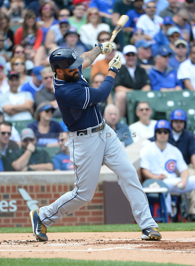 San Diego Padres Matt Kemp (27) during a game against the Chicago Cubs on April 17, 2015 at Wrigley Field in Chicago, IL. The Padres beat the Cubs 5-4.