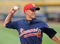 10 April 2008: Infielder Mike Rozema (5) of the Mississippi Braves, Class AA affiliate of the Atlanta Braves, in a game against the Mobile BayBears at Trustmark Park in Pearl, Miss. Photo by:  Tom Priddy/Four Seam Images