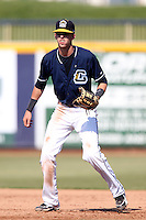 Lake County Captains catcher/first baseman Dwight Childs #4 during the second game of a double header against the West Michigan Whitecaps at Classic Park on May 30, 2011 in Eastlake, Ohio.  Lake County defeated West Michigan 4-3.  Photo By Mike Janes/Four Seam Images