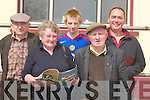 SALE: Looking over the programme at the 83rd Annual Kerry Shorthorn Breeders Show and Sale of Bulls at Castleisland Mart. Front: Noreen Nolan (Moyvane) and Tom Moloney (Newmarket) Back l-r: Pat Dineen and Martin O'Connor (Asdee) and Dan McCarthy (Newmarket)..