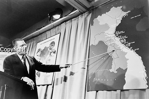 United States Secretary of Defense Robert McNamara adress the media , during the VietNam War.<br /> <br /> 1967 file photo - Robert Strange McNamara (born June 9, 1916) is an American business executive and a former United States Secretary of Defense. McNamara served as U.S. Secretary of Defense from 1961 to 1968, during the Vietnam War. After holding that position he became President of the World Bank (1968-1981). McNamara was responsible for the institution of systems analysis in public policy, which developed into the discipline known today as policy analysis.[1]