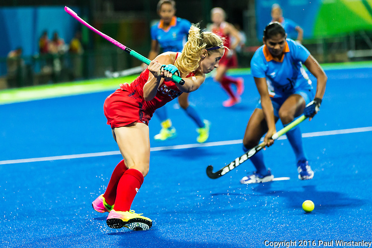 Katie Bam #16 of United States preparing to hit the ball into the circle during USA vs India in a women's Pool B game at the Rio 2016 Olympics at the Olympic Hockey Centre in Rio de Janeiro, Brazil.