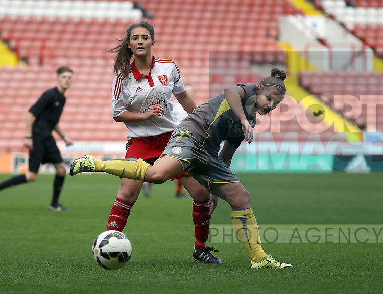 Sheffield United Ladies' Jodie Hartley (Left) and Leicester City Ladies' Jess Seaton battle for the ball during the FA Women's Cup First Round match at Bramall Lane Stadium, Sheffield. Picture date: December 4th, 2016. Pic Clint Hughes/Sportimage