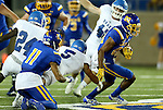 BROOKINGS, SD - SEPTEMBER 10:  Adam Anderson #80 from South Dakota State scampers for room past Terry Wallen #5 from Drake during their game at the Dana J. Dykhouse Stadium Saturday night in Brookings. (Photo by Dave Eggen/Inertia)