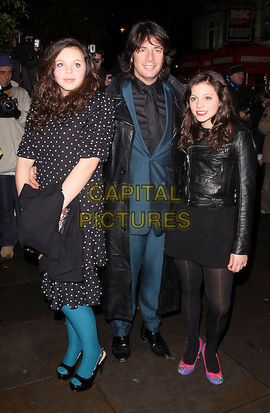 LAURENCE LLEWELYN BOWEN & daughters.Cecile & Hermione English National Ballet's Christmas VIP Party at St Martins Hotel, London, England..December 16th 2009 .full length family kids children green suit black dad father white polka dot print dress leather jacket lawrence.CAP/AH.©Adam Houghton/Capital Pictures.