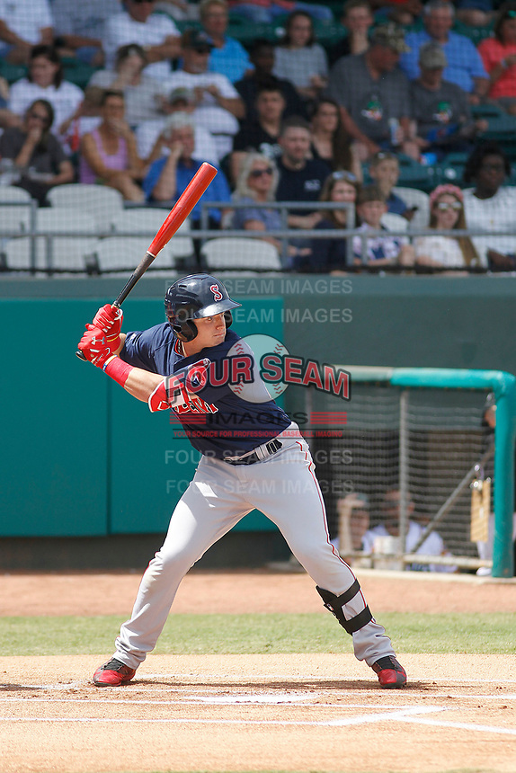Salem Red Sox center fielder Tate Matheny (19) at bat during a game against the Down East Wood Ducks  at Grainger Stadium on April 16, 2017 in Kinston, North Carolina. Salem defeated Down East 9-2. (Robert Gurganus/Four Seam Images)