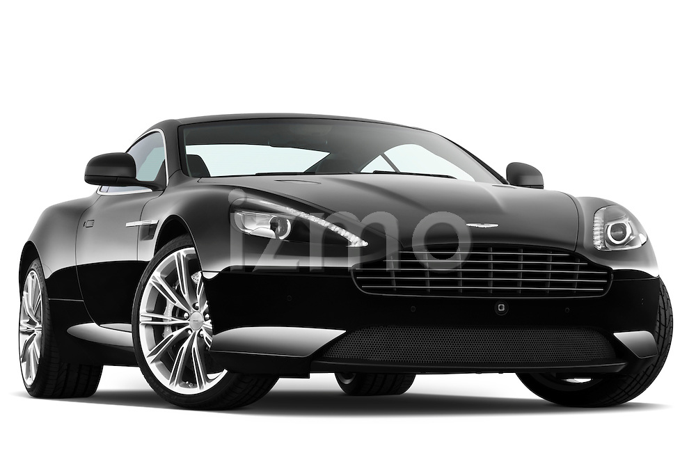 Low aggressive passenger side front three quarter view of a 2012 Aston Martin Virage.