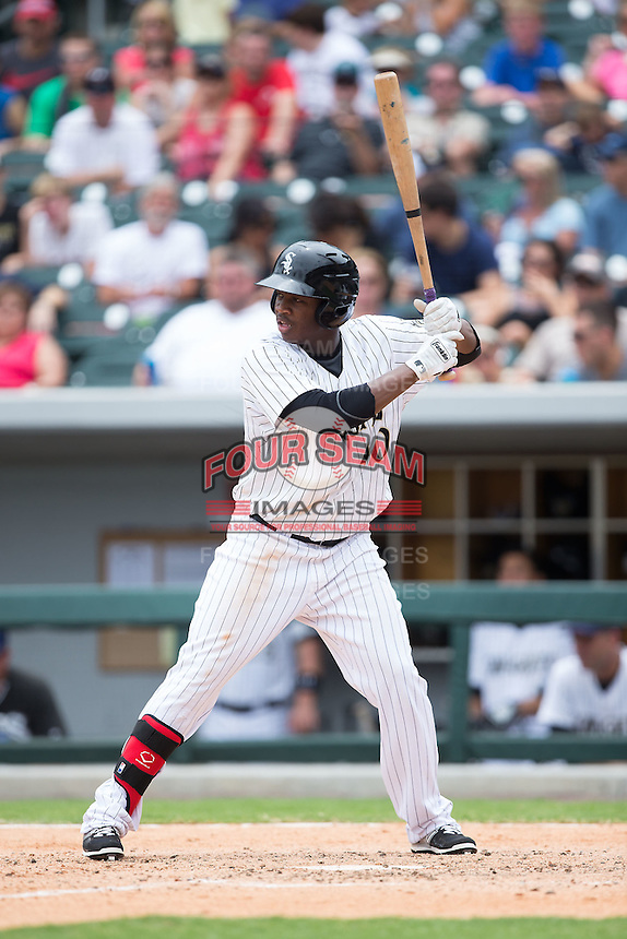 Alexander Simon (40) of the Charlotte Knights at bat against the Gwinnett Braves at BB&T BallPark on July 3, 2015 in Charlotte, North Carolina.  The Braves defeated the Knights 11-4 in game one of a day-night double header.  (Brian Westerholt/Four Seam Images)